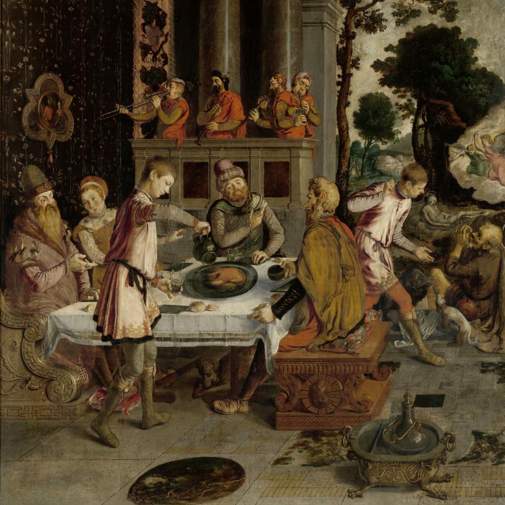 Неизвестный  художник. Нидерландская школа. 1550-1575 Притча о богаче и Лазаре.    деталь