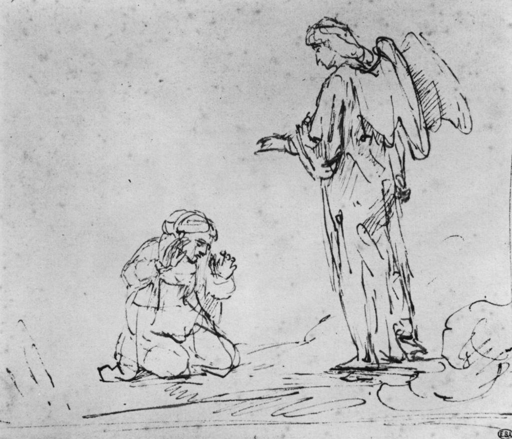 Рембрандт Ван Рейн. Агарь и ангел