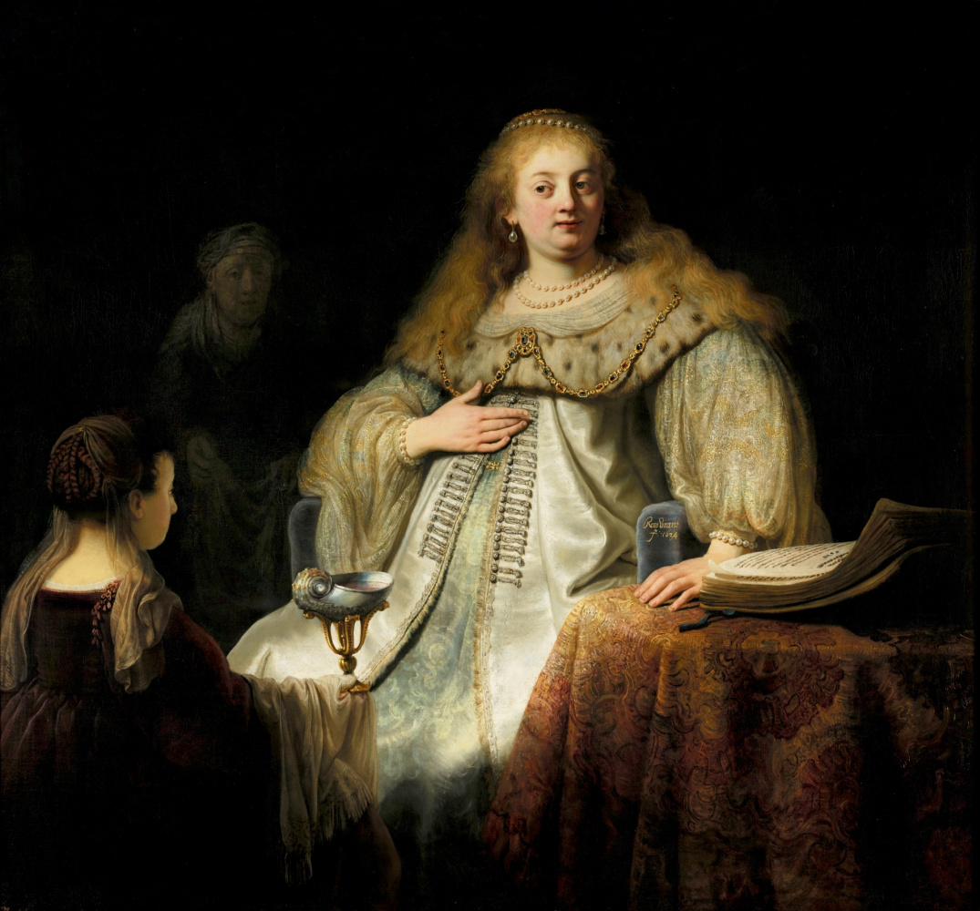 """Rembrandt Harmenszoon van Rijn. Judith at the feast of Holofernes (formerly known as """"Artemisia"""")"""