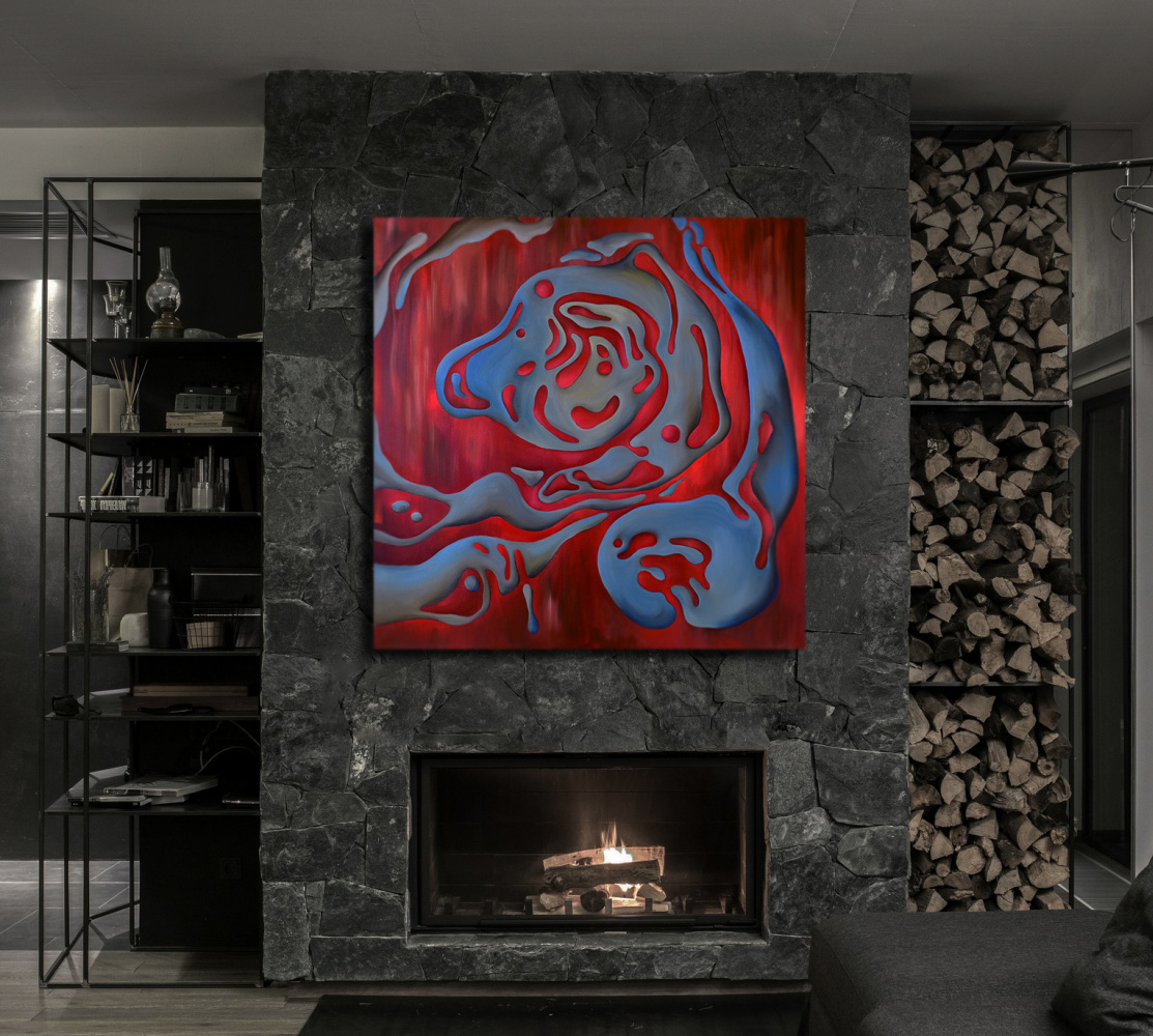 THE MUSIC OF WATER. RED - original oil painting