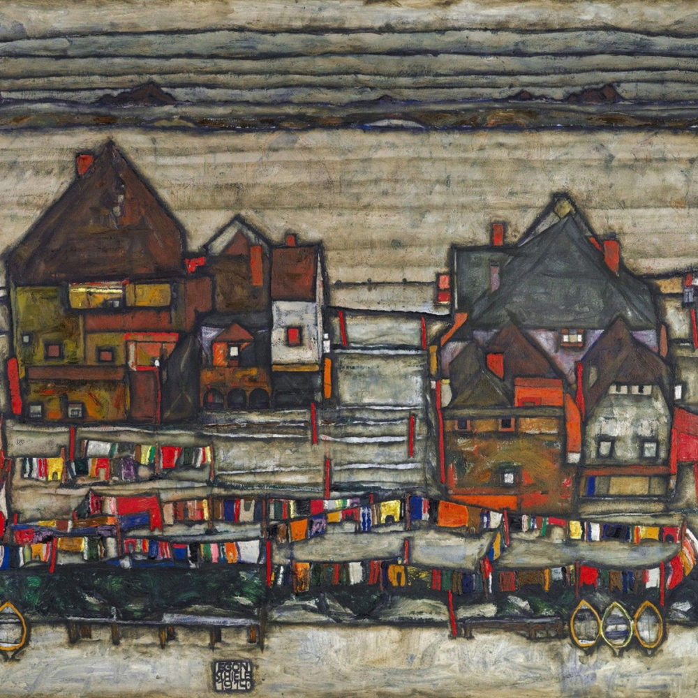 Egon Schiele. House with a colorful linen