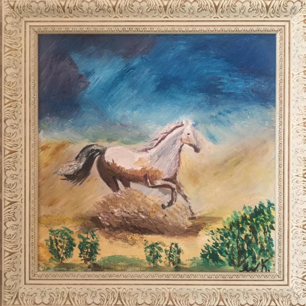 Unknown artist. Horse in the desert