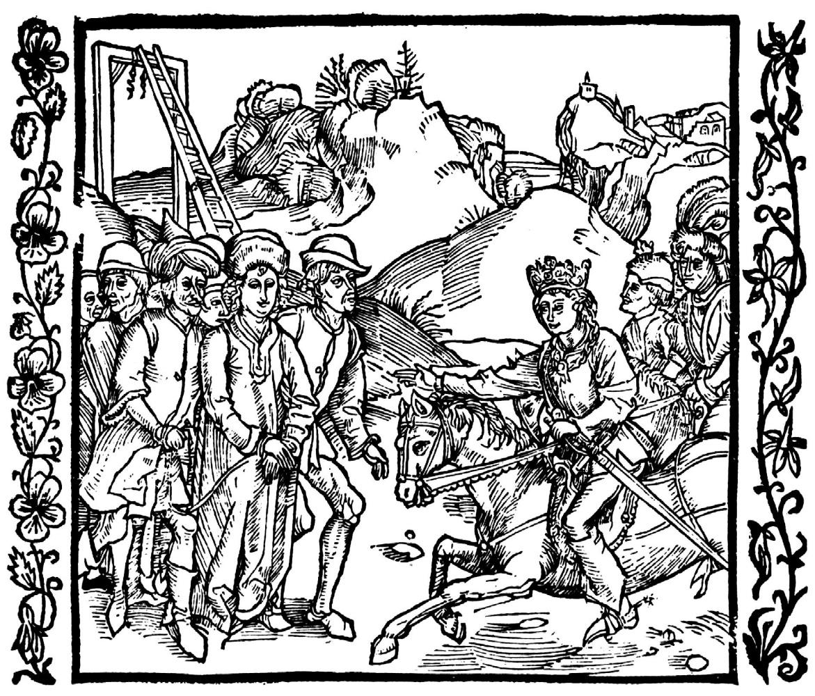"""Альбрехт Дюрер. Иллюстрация к книге """"Рыцарь де ля Тур"""". Сын императора освобождает Катона Младшего"""