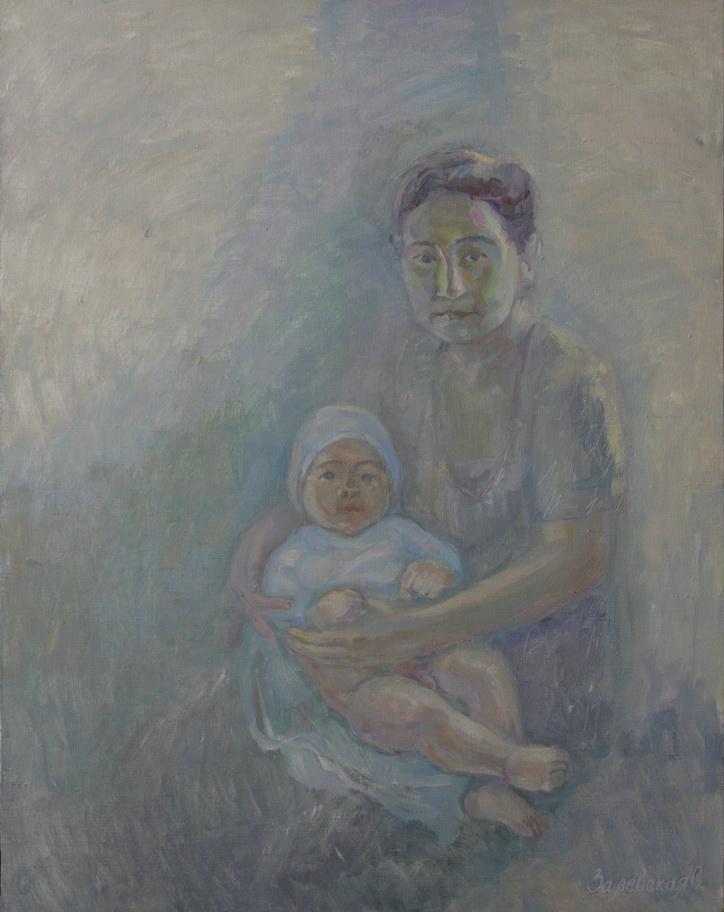 Oksana Viktorovna Zalevskaya. Mother and son from the village of Gava.