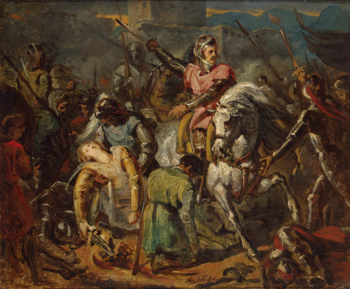 Ари Шеффер. The death of Gaston de Foix at the Battle of Ravenna on April 11, 1512. Sketch