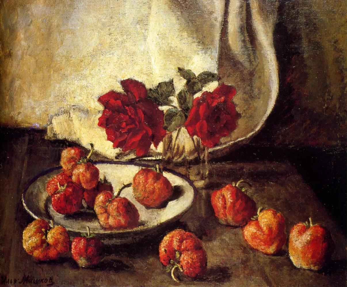 Ilya Ivanovich Mashkov. Two dark roses and a plate of strawberries