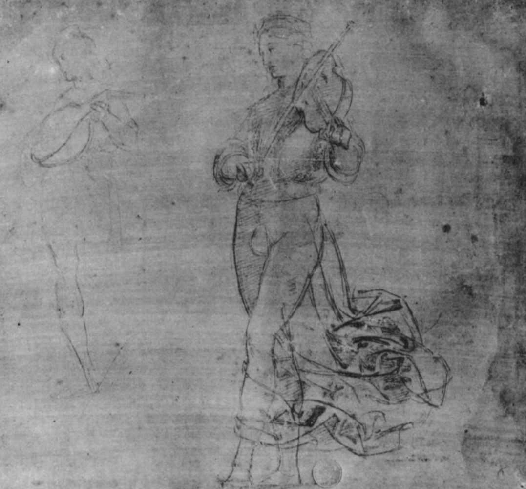 Raphael Sanzio. Boys with a violin and a mandolin. Study for predella chapel of Oddi