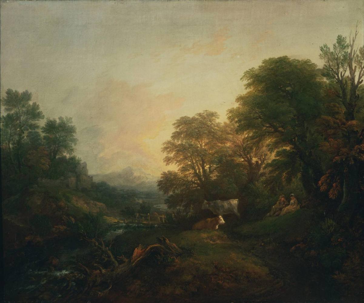Thomas Gainsborough. Landscape with pair of lovers and grazing cows