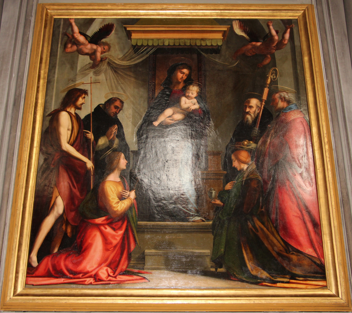 """Madonna and Saints. Altar """"Madonna under the canopy"""" of the church of San Marco, Florence"""