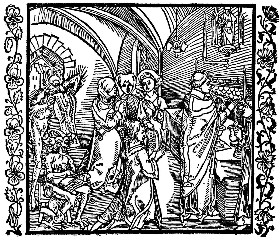 """Альбрехт Дюрер. Иллюстрация к книге """"Рыцарь де ля Тур"""". Дьявол записывыает на пергаменте разговоры людей во время мессы"""
