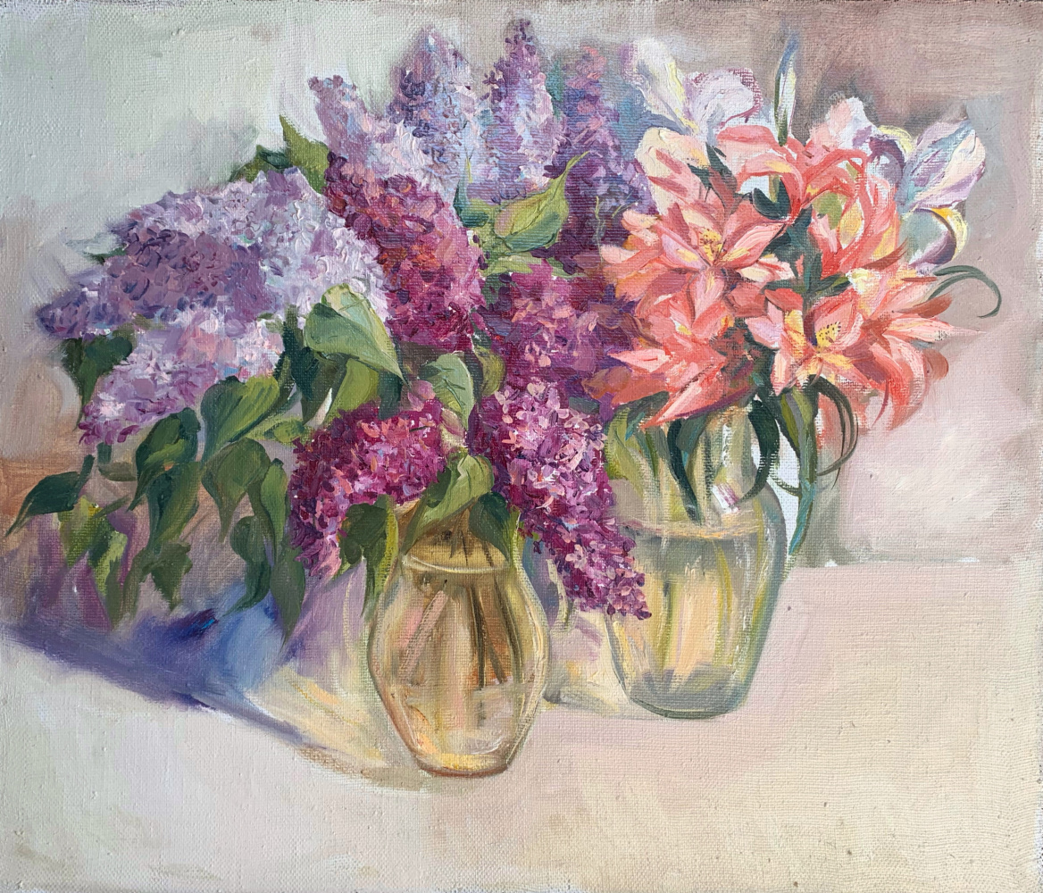 Alena Sukhoborova-Kazarina. Lilacs and lilies