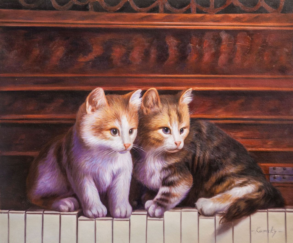 Savely Kamsky. Kittens walked on the piano