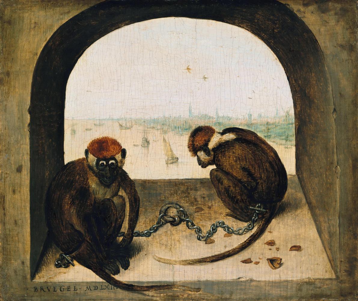 Pieter Bruegel The Elder. Two monkeys on a chain
