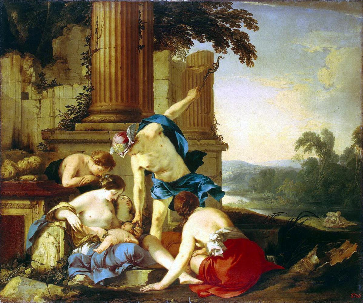 Лоран де Ла Гир. Меркурий передает Вакха нимфам на воспитание