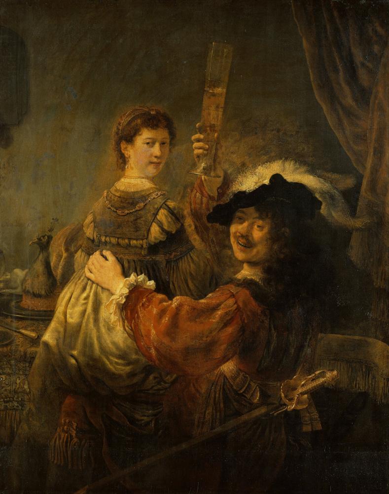 Rembrandt Harmenszoon van Rijn. The prodigal son in the tavern (self-Portrait with Saskia on his knees)