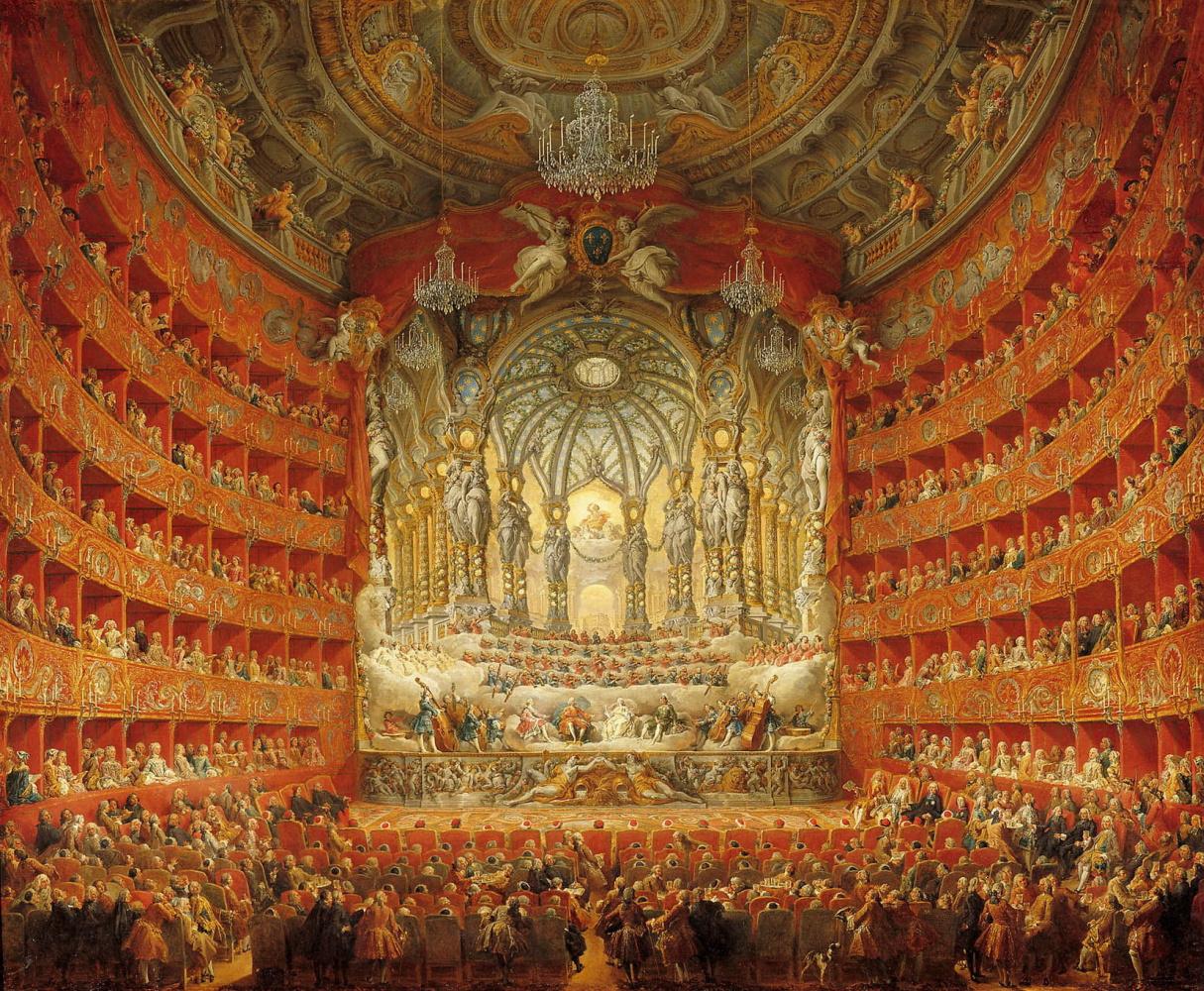 Джованни Паоло Паннини. Музыкальное представление в Театро Арджентина по случаю бракосочетания дофина