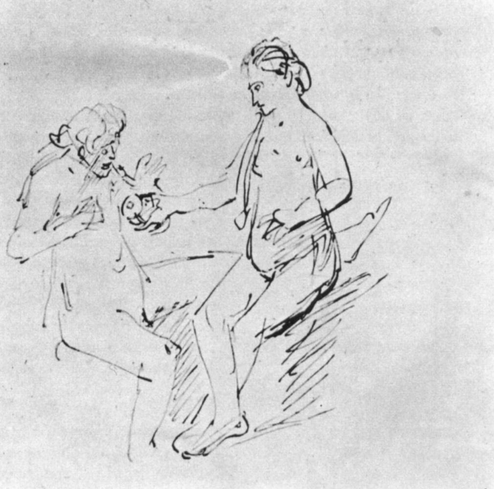 Рембрандт Ван Рейн. Ева предлагает Адаму яблоко