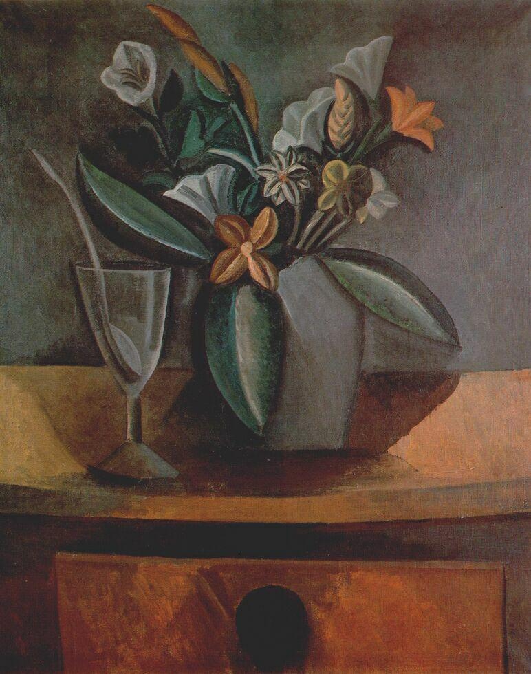 Пабло Пикассо. Ваза с цветами, бокал и ложка