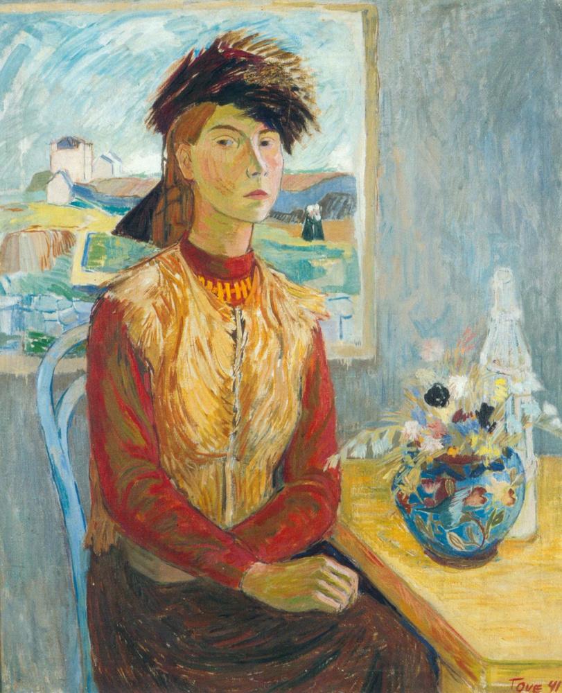 Tove Jansson. Self-portrait in a fur hat