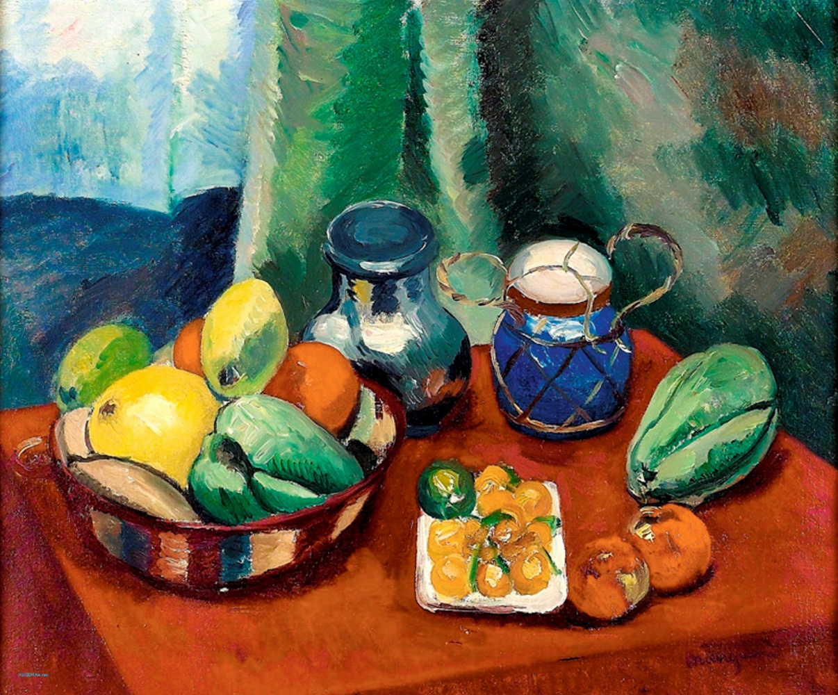 Henri Manguin. Still life with fruit and blue jar
