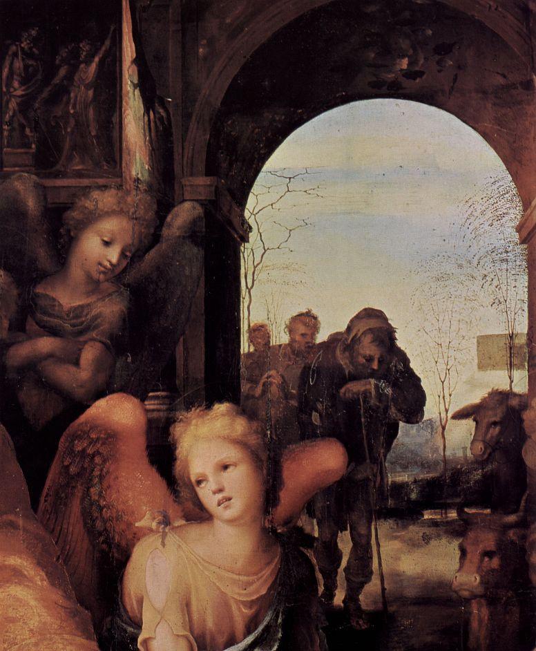 Доменико Беккафуми. Рождество, деталь: Ангел и пастухи