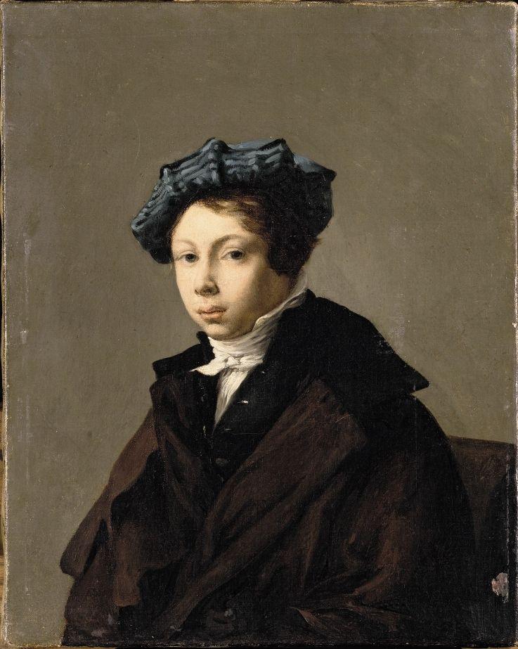 Eugene Delacroix. Portrait of a young man in a blue beret