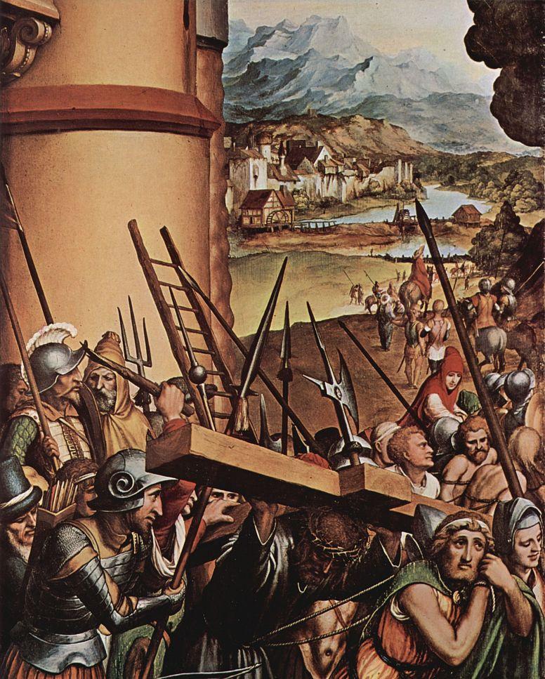 Ганс Гольбейн Младший. Алтарь Страстей Христовых, левая створка внутренняя сторона, сцена внизу: Несение креста, деталь