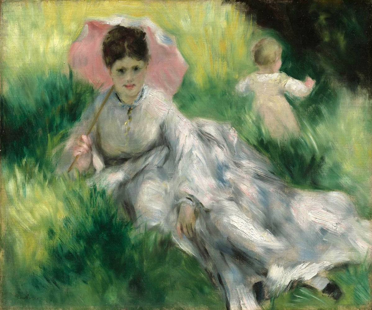 Pierre-Auguste Renoir. A woman with an umbrella and a baby boy on a sunlit hillside