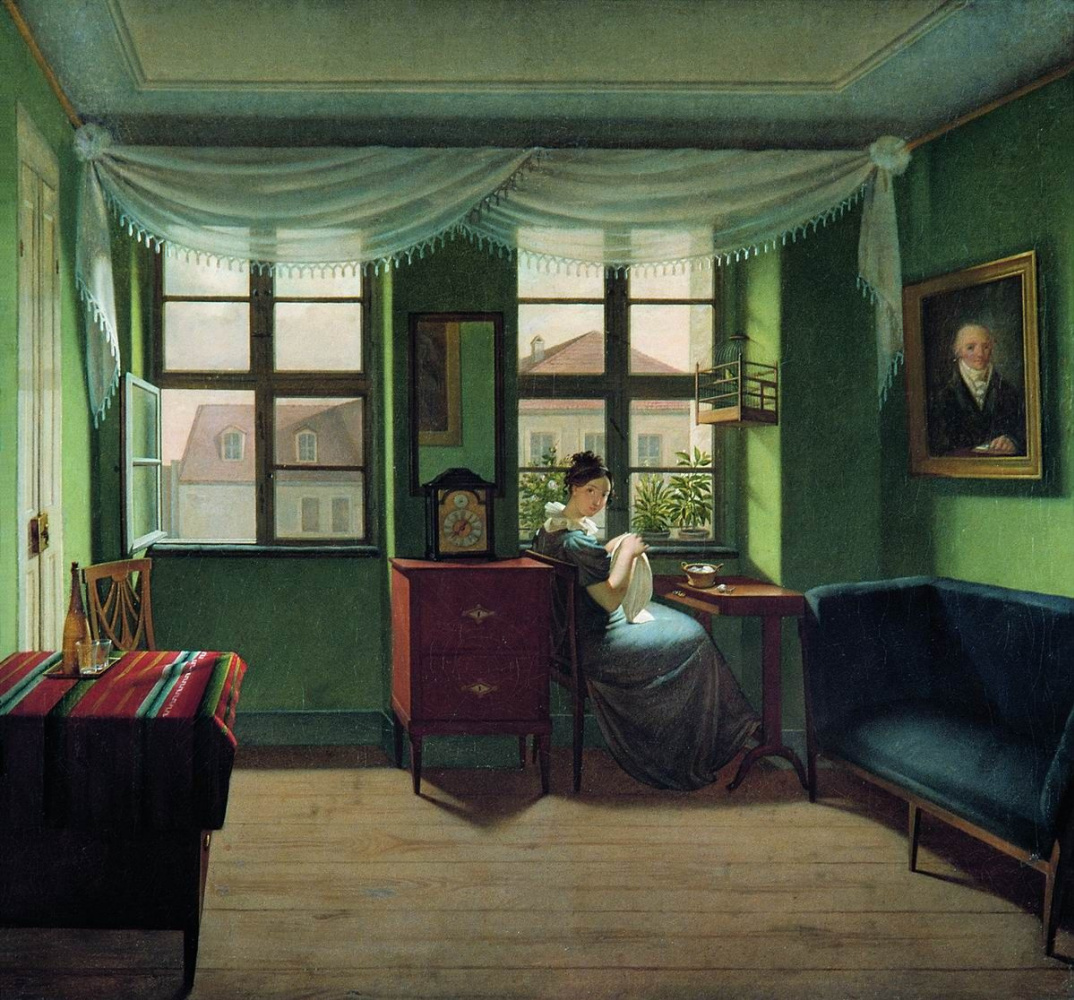 Fedor Petrovich Tolstoy. In the room sewing