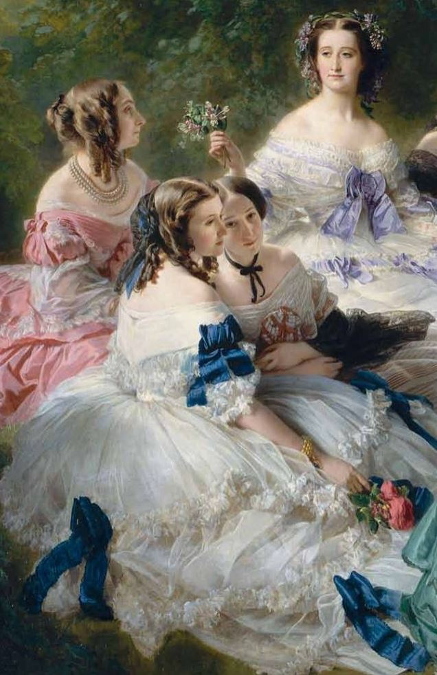 Franz Xaver Winterhalter. The Empress Eugenie with her ladies in waiting. Fragment III