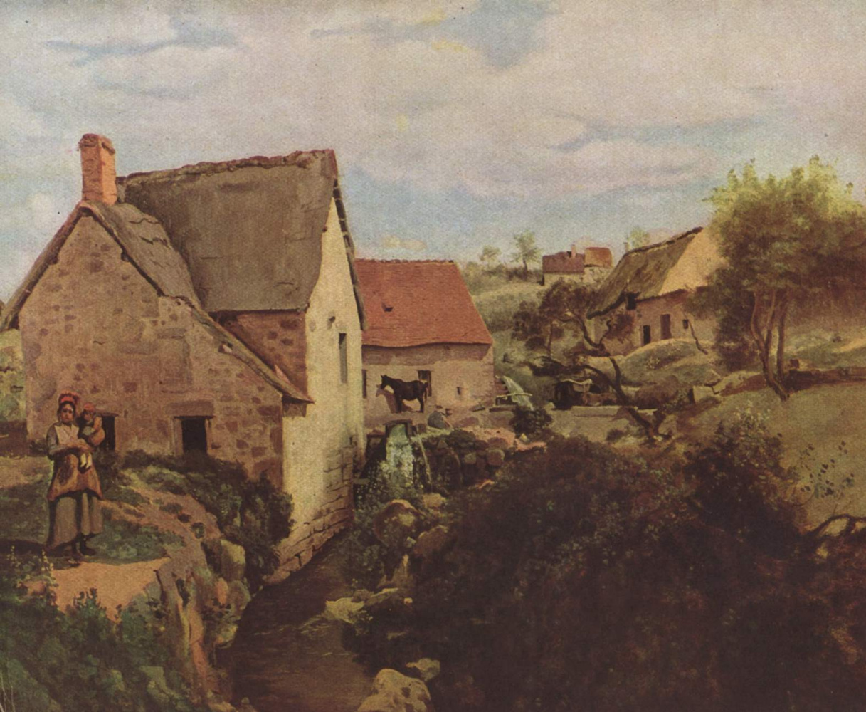 Камиль Коро. Хижины и мельница на берегу ручья