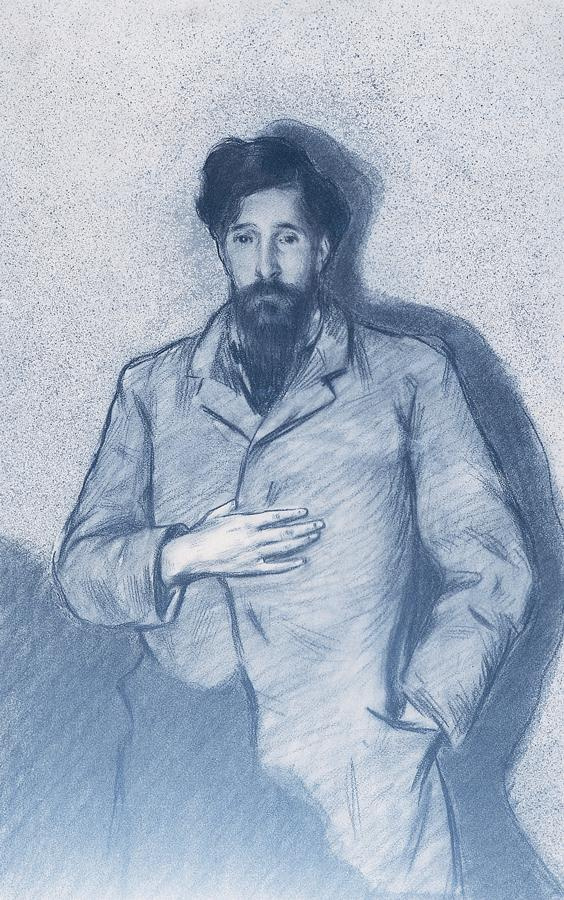 "Ramon Casas i Carbó. Portrait of Santiago Rusinol, named El Greco ""Nobleman with a hand on his chest"""