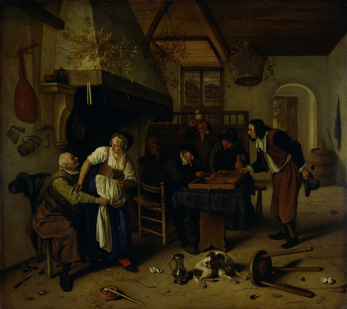 Two types of games. Interior of a tavern with the old man and the mistress