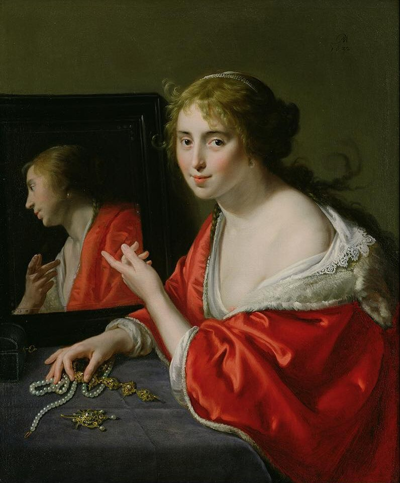 Паулюс Морелсе. Ванитас. Молодая женщина, сидящая за туалетным столиком