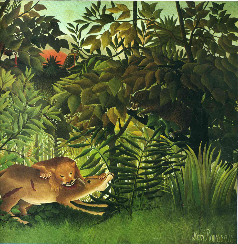 Анри Руссо. Голодный лев набрасывается на антилопу