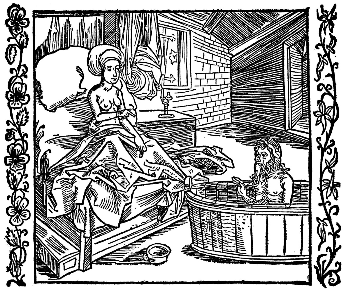 """Альбрехт Дюрер. Иллюстрация к книге """"Рыцарь де ля Тур"""". Женщина и купающийся отшельник"""