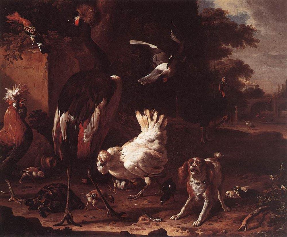 Melchior de Hondecuiter. Birds and a Spaniel in a garden