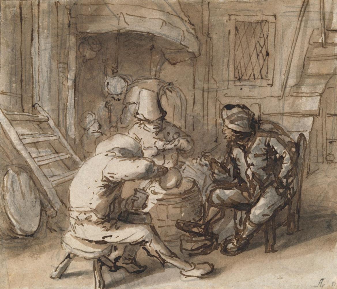Adrian Jans van Ostade. Drinking peasants