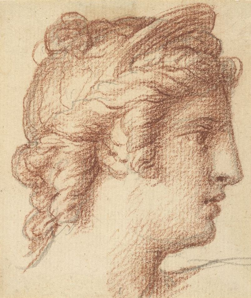 Jacques-Louis David. The woman's head with diadem