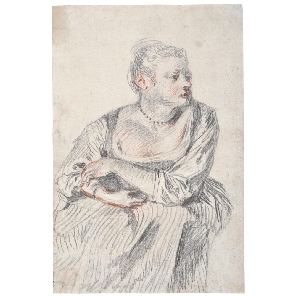 Антуан Ватто. Сидящая женщина с жемчужным ожерельем