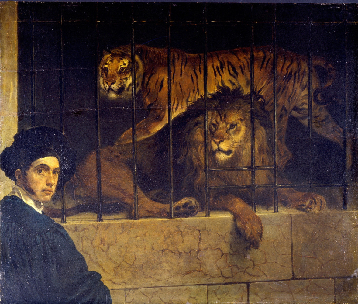 Francesco Ayets. Self Portrait with Tiger and Lion