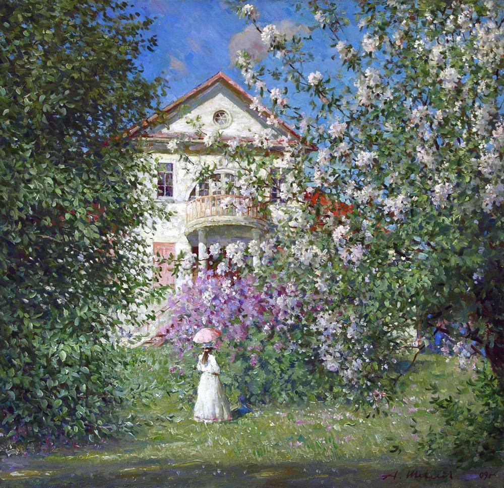 Alexander Victorovich Shevelyov. Spring at the HOMESTEAD.Oil on canvas 58,5 # 60 cm, 2009