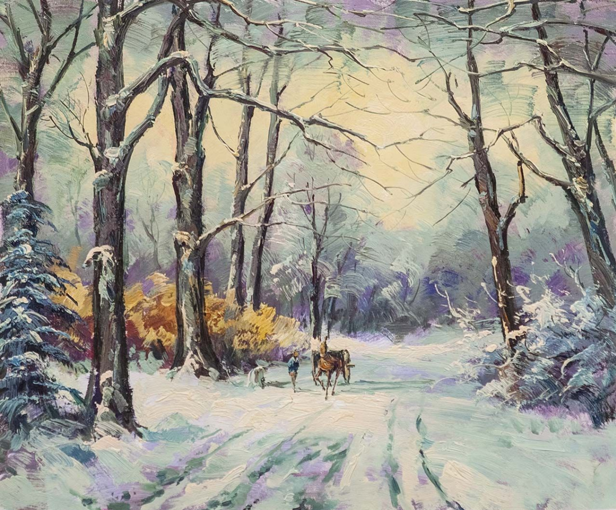 """Andrzej Vlodarczyk. Oil landscape """"On the road in a winter day"""""""
