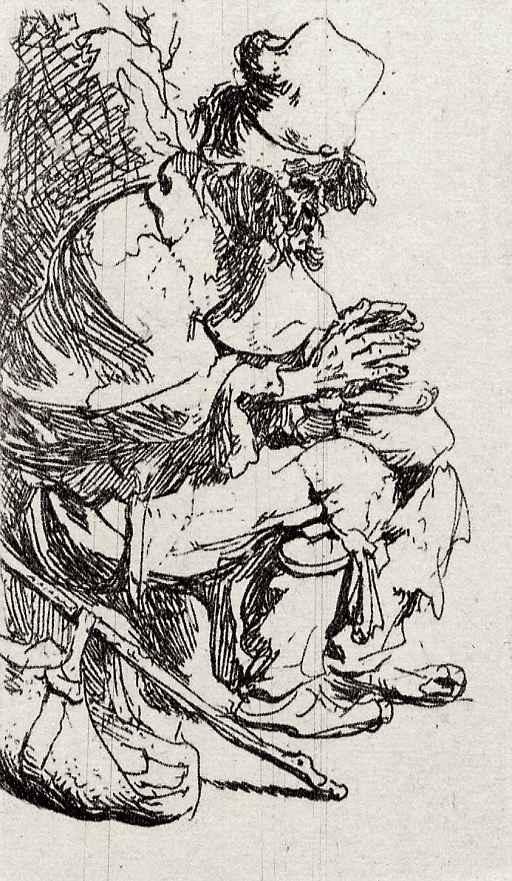 Рембрандт Ван Рейн. Нищий с грелкой