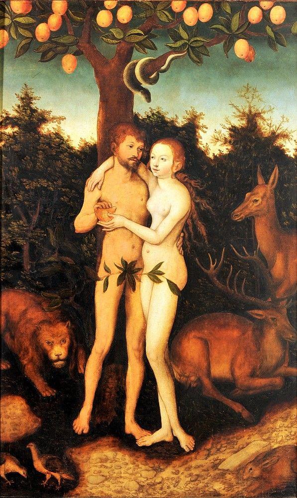 Лукас Кранах Старший. Адам и Ева. Грехопадение