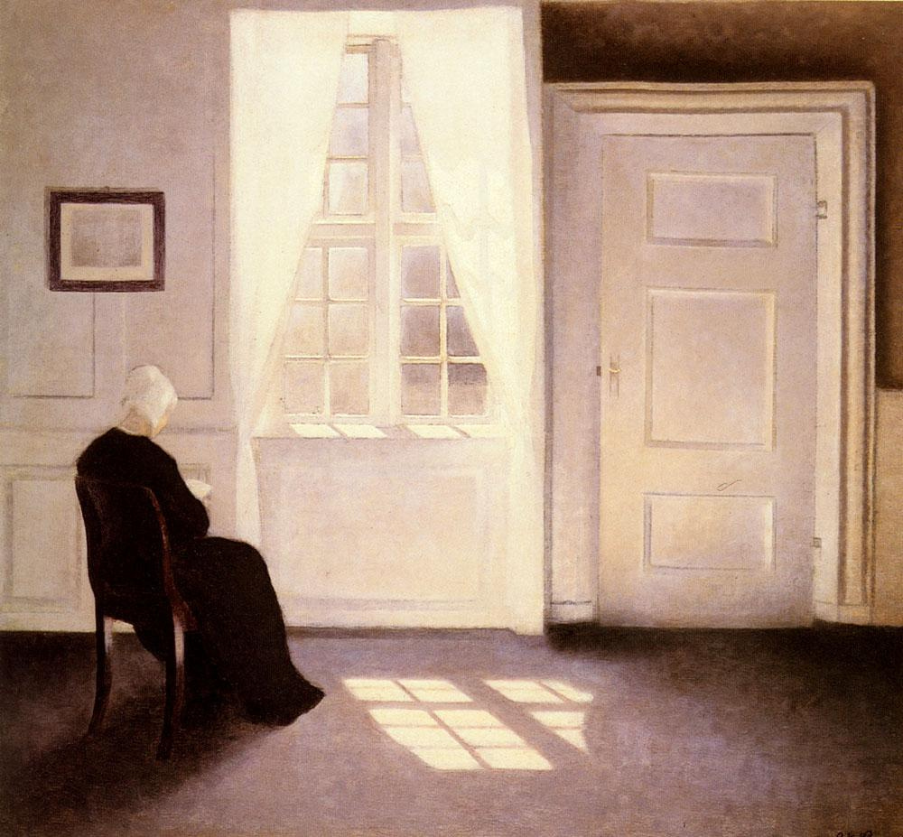 Vilhelm Hammershøi. Woman reading by the window