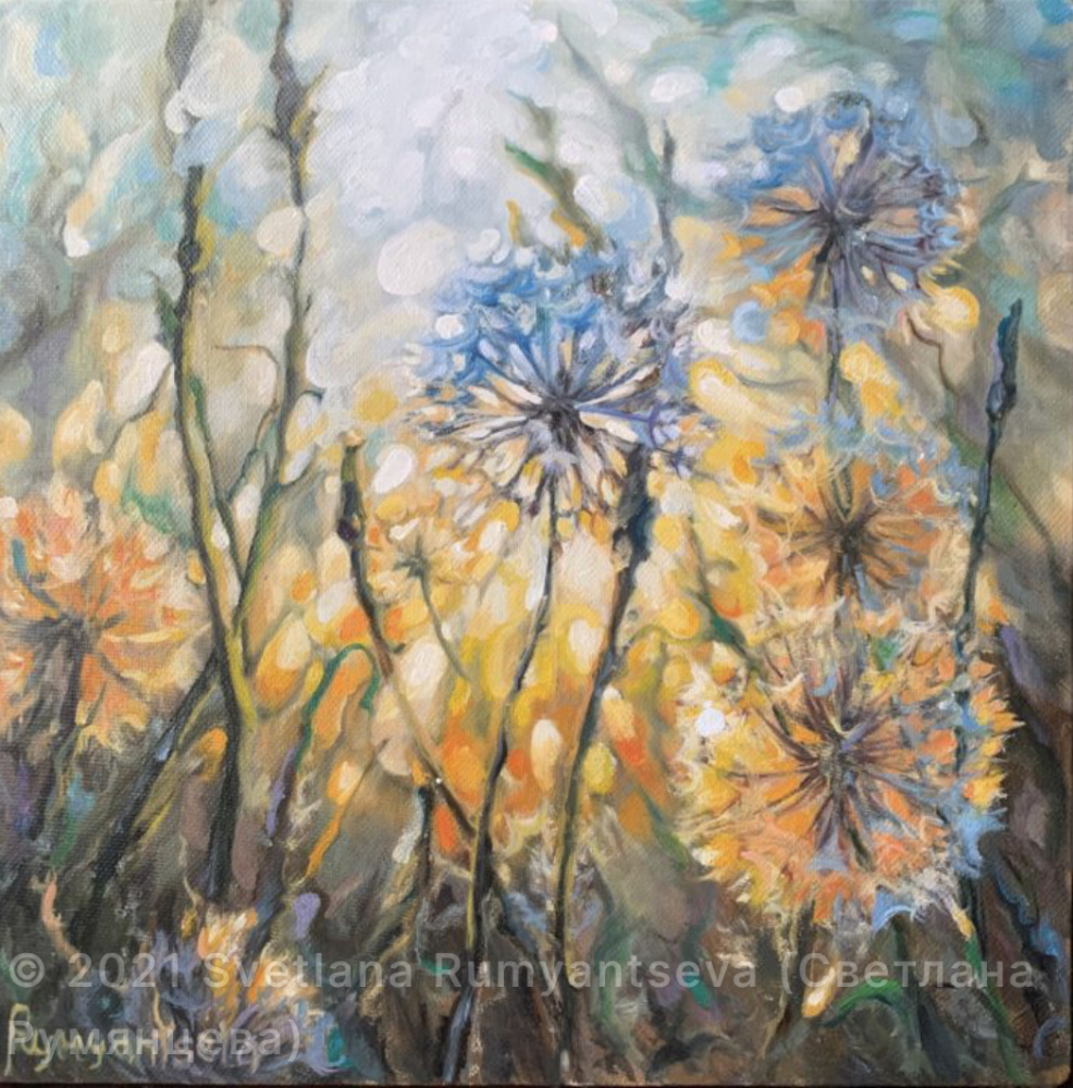 Svetlana Rumyantseva. Dandelions at sunset