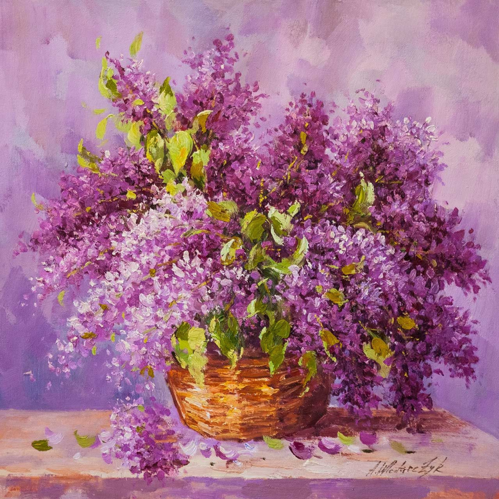 """Andrzej Vlodarczyk. Still life with oil """"Lilacs in a basket"""""""