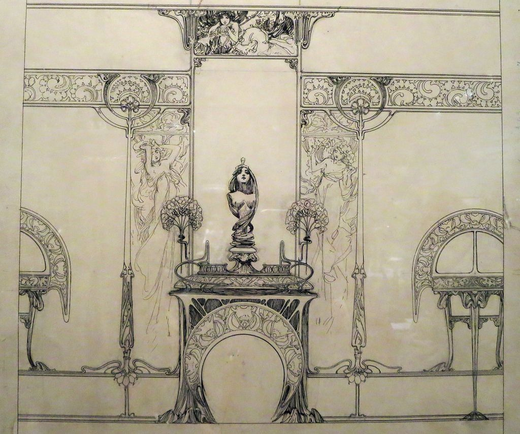 Alfons Mucha. A sketch of the interior jewelry boutique of Georges Fouquet