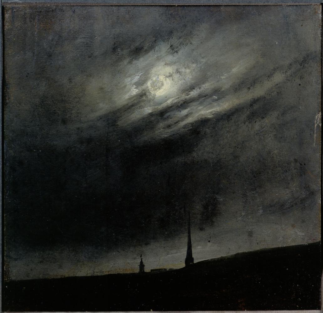 Johan Christian Klausen Dahl. Луна над Дрезденом